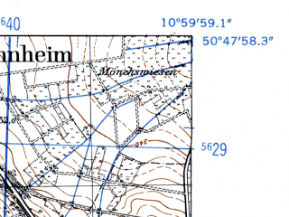 Reduced fragment of topographic map de--mb--025k--52_031-ams--(1952)--N050-48_E010-50--N050-42_E011-00; towns and cities Ilmenau