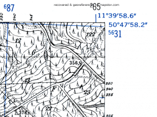 Reduced fragment of topographic map de--mb--025k--52_035-ams--(1952)--N050-48_E011-30--N050-42_E011-40