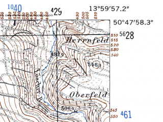 Reduced fragment of topographic map de--mb--025k--52_049-ams--(1952)--N050-48_E013-50--N050-42_E014-00