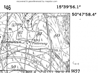 Reduced fragment of topographic map de--mb--025k--52_059-ams--(1952)--N050-48_E015-30--N050-42_E015-40