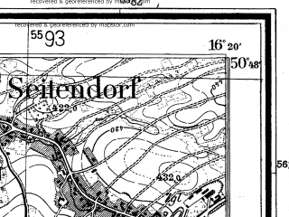 Reduced fragment of topographic map de--mb--025k--52_063--(1936)--N050-48_E016-10--N050-42_E016-20; towns and cities Walbrzych, Boguszow-gorce