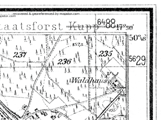 Reduced fragment of topographic map de--mb--025k--52_072--(1932)--N050-48_E017-40--N050-42_E017-50; towns and cities Lewin Brzeski