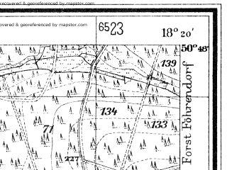 Reduced fragment of topographic map de--mb--025k--52_075--(1938)--N050-48_E018-10--N050-42_E018-20
