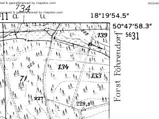 Reduced fragment of topographic map de--mb--025k--52_075-ams--(1952)--N050-48_E018-10--N050-42_E018-20