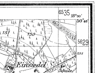 Reduced fragment of topographic map de--mb--025k--52_076--(1938)--N050-48_E018-20--N050-42_E018-30