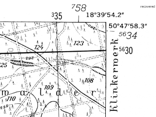 Reduced fragment of topographic map de--mb--025k--52_077-ams--(1952)--N050-48_E018-30--N050-42_E018-40