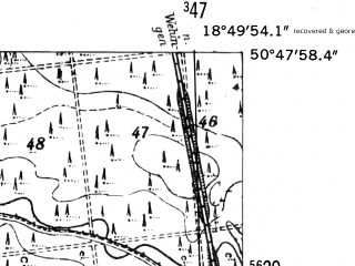 Reduced fragment of topographic map de--mb--025k--52_078-ams--(1952)--N050-48_E018-40--N050-42_E018-50
