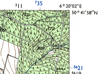 Reduced fragment of topographic map de--mb--025k--53_003-ams--(1955)--N050-42_E006-10--N050-36_E006-20