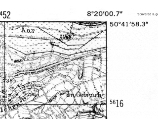 Reduced fragment of topographic map de--mb--025k--53_015-ams--(1952)--N050-42_E008-10--N050-36_E008-20
