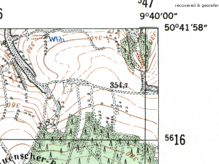 Reduced fragment of topographic map de--mb--025k--53_023-ams--(1954)--N050-42_E009-30--N050-36_E009-40