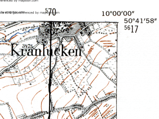 Reduced fragment of topographic map de--mb--025k--53_025-ams--(1954)--N050-42_E009-50--N050-36_E010-00