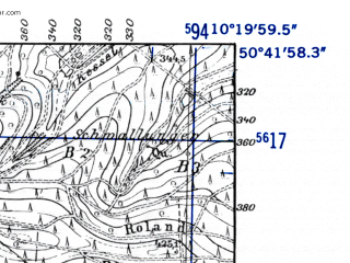 Reduced fragment of topographic map de--mb--025k--53_027-ams--(1952)--N050-42_E010-10--N050-36_E010-20