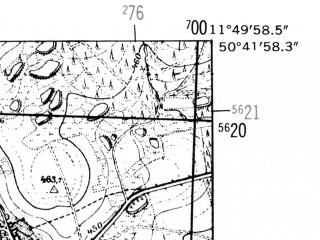 Reduced fragment of topographic map de--mb--025k--53_036-ams--(1952)--N050-42_E011-40--N050-36_E011-50