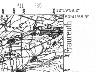 Reduced fragment of topographic map de--mb--025k--53_039-ams--(1952)--N050-42_E012-10--N050-36_E012-20; towns and cities Greiz