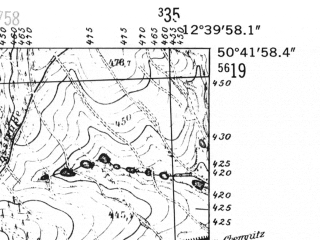 Reduced fragment of topographic map de--mb--025k--53_041-ams--(1952)--N050-42_E012-30--N050-36_E012-40