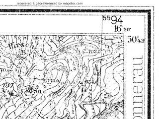 Reduced fragment of topographic map de--mb--025k--53_063--(1936)--N050-42_E016-10--N050-36_E016-20; towns and cities Mieroszow