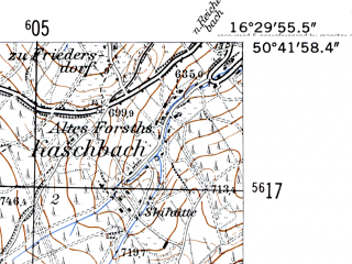 Reduced fragment of topographic map de--mb--025k--53_064-ams--(1952)--N050-42_E016-20--N050-36_E016-30