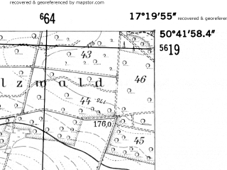 Reduced fragment of topographic map de--mb--025k--53_069-ams--(1952)--N050-42_E017-10--N050-36_E017-20