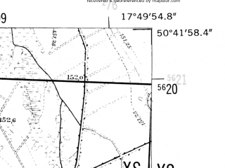 Reduced fragment of topographic map de--mb--025k--53_072-ams--(1952)--N050-42_E017-40--N050-36_E017-50