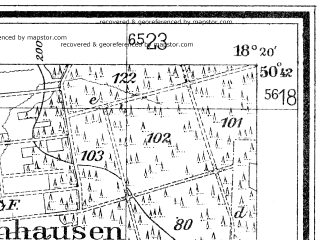 Reduced fragment of topographic map de--mb--025k--53_075--(1938)--N050-42_E018-10--N050-36_E018-20