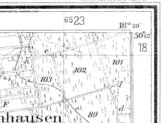 Reduced fragment of topographic map de--mb--025k--53_075--(1942)--N050-42_E018-10--N050-36_E018-20
