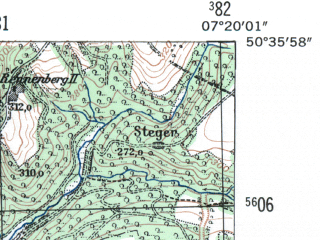 Reduced fragment of topographic map de--mb--025k--54_009-ams--(1954)--N050-36_E007-10--N050-30_E007-20