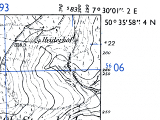 Reduced fragment of topographic map de--mb--025k--54_010-ams--(1955)--N050-36_E007-20--N050-30_E007-30