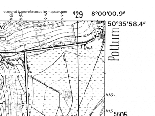 Reduced fragment of topographic map de--mb--025k--54_013-ams--(1952)--N050-36_E007-50--N050-30_E008-00