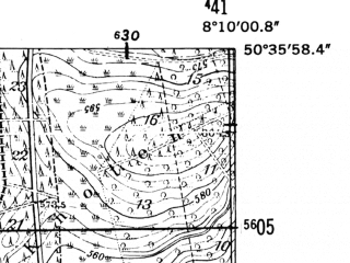 Reduced fragment of topographic map de--mb--025k--54_014-ams--(1952)--N050-36_E008-00--N050-30_E008-10