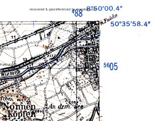 Reduced fragment of topographic map de--mb--025k--54_018-ams--(1952)--N050-36_E008-40--N050-30_E008-50; towns and cities Giessen