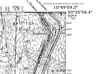Reduced fragment of topographic map de--mb--025k--54_030-ams--(1952)--N050-36_E010-40--N050-30_E010-50