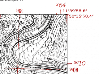 Reduced fragment of topographic map de--mb--025k--54_035-ams--(1952)--N050-36_E011-30--N050-30_E011-40