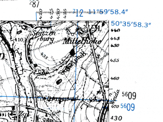 Reduced fragment of topographic map de--mb--025k--54_037-ams--(1952)--N050-36_E011-50--N050-30_E012-00