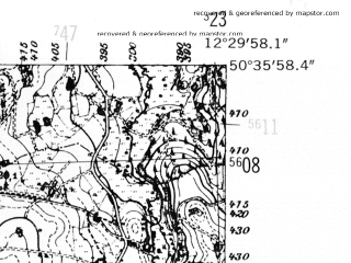 Reduced fragment of topographic map de--mb--025k--54_040-ams--(1952)--N050-36_E012-20--N050-30_E012-30; towns and cities Auerbach