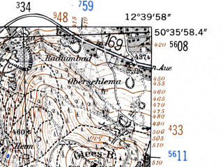 Reduced fragment of topographic map de--mb--025k--54_041-ams--(1952)--N050-36_E012-30--N050-30_E012-40 in area of Eibenstock Stausee