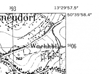 Reduced fragment of topographic map de--mb--025k--54_046-ams--(1952)--N050-36_E013-20--N050-30_E013-30