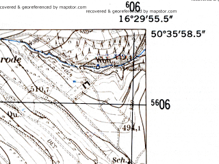 Reduced fragment of topographic map de--mb--025k--54_064-ams--(1952)--N050-36_E016-20--N050-30_E016-30