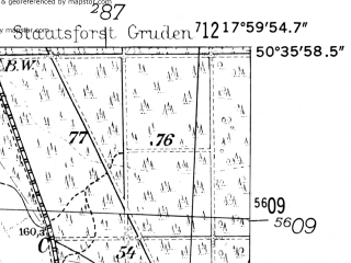 Reduced fragment of topographic map de--mb--025k--54_073-ams--(1952)--N050-36_E017-50--N050-30_E018-00