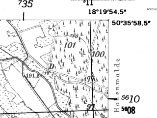 Reduced fragment of topographic map de--mb--025k--54_075-ams--(1952)--N050-36_E018-10--N050-30_E018-20; towns and cities Strzelce Opolskie