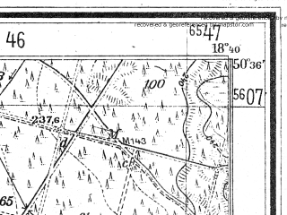 Reduced fragment of topographic map de--mb--025k--54_077--(1942)--N050-36_E018-30--N050-30_E018-40