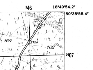 Reduced fragment of topographic map de--mb--025k--54_078-ams--(1952)--N050-36_E018-40--N050-30_E018-50