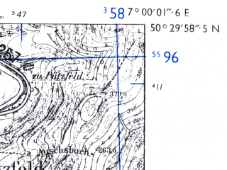 Reduced fragment of topographic map de--mb--025k--55_007-ams--(1955)--N050-30_E006-50--N050-24_E007-00