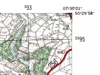 Reduced fragment of topographic map de--mb--025k--55_010-ams--(1954)--N050-30_E007-20--N050-24_E007-30; towns and cities Neuwied, Andernach