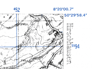 Reduced fragment of topographic map de--mb--025k--55_015-ams--(1952)--N050-30_E008-10--N050-24_E008-20
