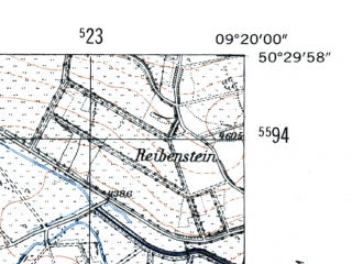 Reduced fragment of topographic map de--mb--025k--55_021-ams--(1954)--N050-30_E009-10--N050-24_E009-20