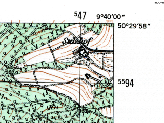 Reduced fragment of topographic map de--mb--025k--55_023-ams--(1954)--N050-30_E009-30--N050-24_E009-40