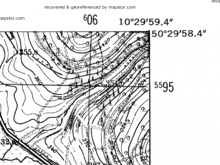 Reduced fragment of topographic map de--mb--025k--55_028-ams--(1952)--N050-30_E010-20--N050-24_E010-30
