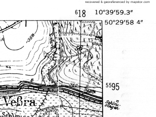 Reduced fragment of topographic map de--mb--025k--55_029-ams--(1952)--N050-30_E010-30--N050-24_E010-40