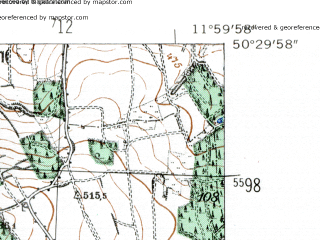 Reduced fragment of topographic map de--mb--025k--55_037-ams--(1954)--N050-30_E011-50--N050-24_E012-00