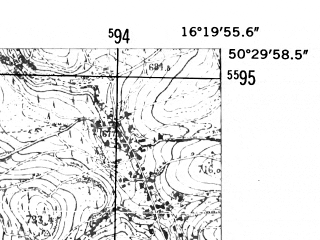 Reduced fragment of topographic map de--mb--025k--55_063-ams--(1952)--N050-30_E016-10--N050-24_E016-20; towns and cities Kudowa-zdroj, Nachod